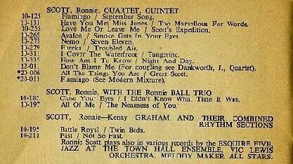 Ronnie Scott entry in Esquire 1953 catalogue